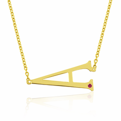 Yellow Gold over Sterling Silver Horizontal Initial with Birthstone Necklace