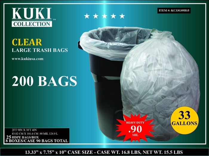 33 Gallon Retail Clear Trash Can Liners