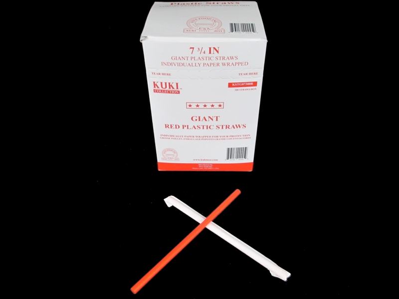 Giant Red Plastic Straws - Individually Wrapped 7 3/4 Inch