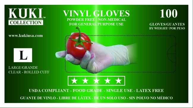 Powder Free Vinyl Gloves - Large