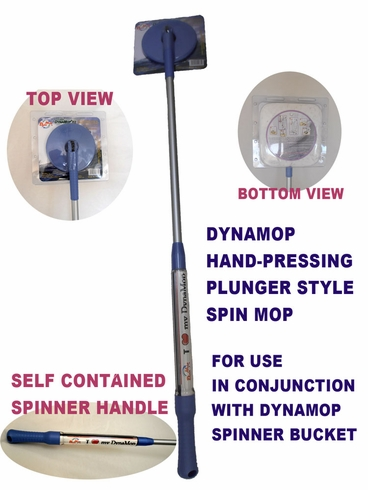 DynaMop® EZ820 & EZ1000 Hand-Press Self-Powered Spin Mop Handle-Blue