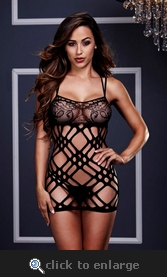 Double Strap Lace Mini Dress in OS