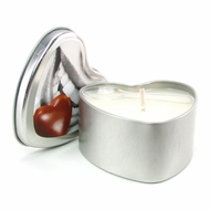 Edible Massage Oil Heart Candle in Chocolate