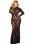 Long Sleeved Black Lace Gown