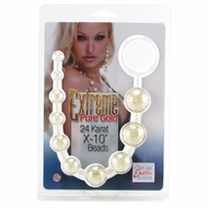 X-10 Extreme Pure Gold Anal Beads in 24k