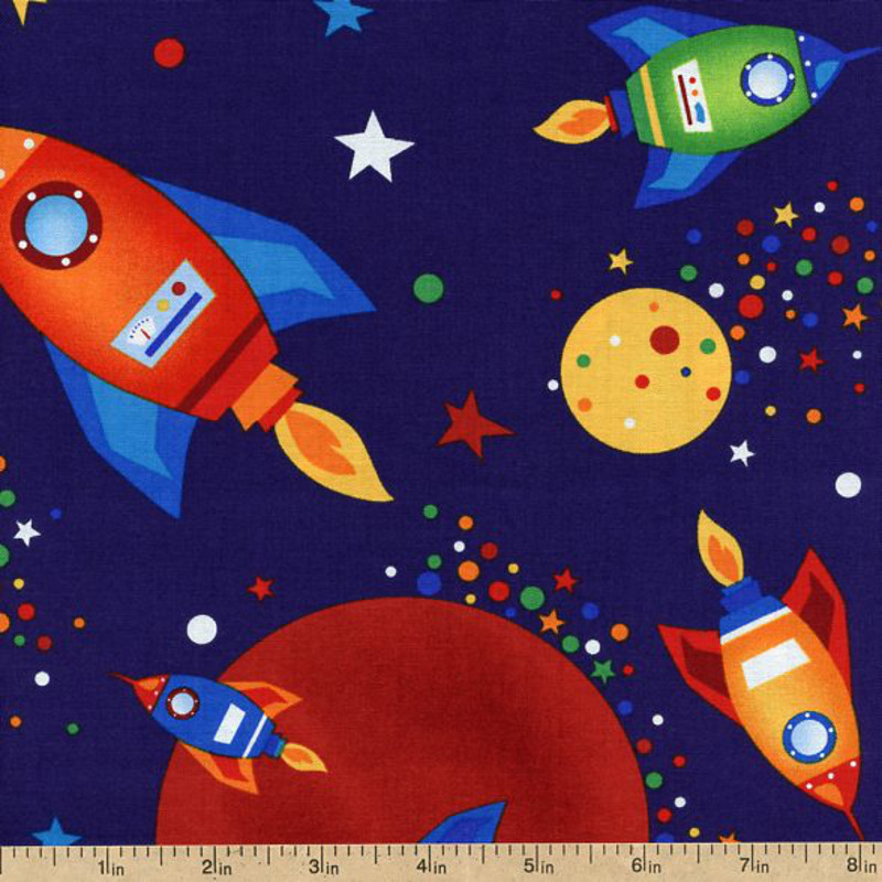 Robot space rockets page 2 pics about space for Space themed fleece fabric