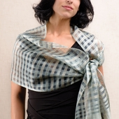 Akash Silk Scarf - Steel Blue