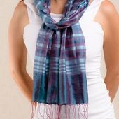 Akash Silk Scarf - Teal and Purple