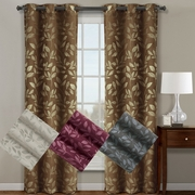 Claire Pair ( Set of 2 ) Micro Suede Jacquard Blackout by weave Grommet Curtain Panels