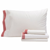 Coyuchi Organic Cotton & Linen Red Henna 300 Percale Sheet Set