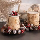 Cylinder Birchwood Candle with Pinecone Wreath