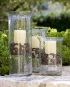 GG Collection Glass and Metal Elevated Candle Holder