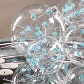 Glass Ball Ornament with Beads - Set of 2