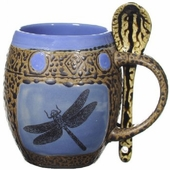Mug with Spoon - Set of 4 - Dragonfly
