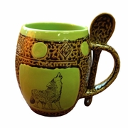 Mug with Spoon - Set of 4 - Wolves