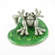 Pewter Bullfrog with Enameled Lily Pad