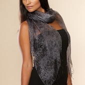 Rasa Black Rose Silk Scarf