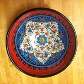 Red and Blue Floral Bowl