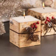 Square Birchwood Candle with Trim
