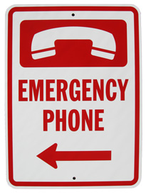 "Emergency Phone Sign (Arrow Left) 18"" x 12"""
