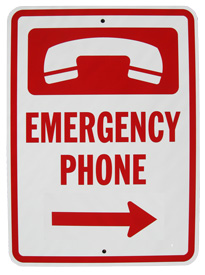 "Emergency Phone Sign (Arrow Right) 18"" x 12"""