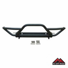 Black Textured Front Rock Crawler Bumper, 2007-2015 Jeep Wrangler JK by RT Off-Road