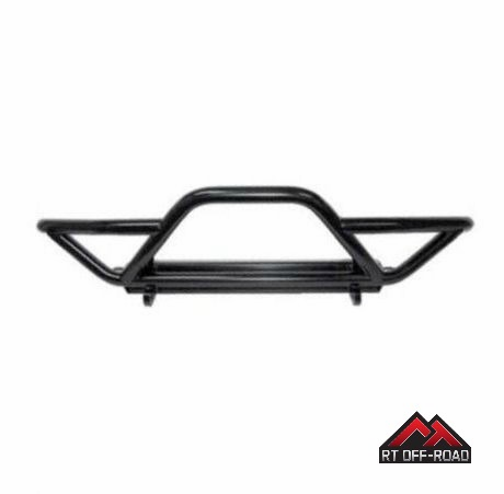 Black Textured Front Rock Crawler Bumper w/ Grille Guard, 1987-2006 Jeep Wrangler by RT Off-Road