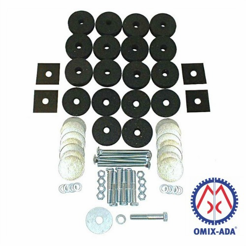 OMIX [ 10599050 ] Body mounting kit, to mount body to frame, fits 1945-1975 Jeep CJ models