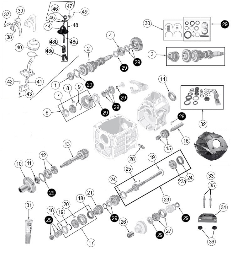 Jeep Transmission Borg Warner T4 T5 Parts on Jeep Cj7 Wiring Diagram