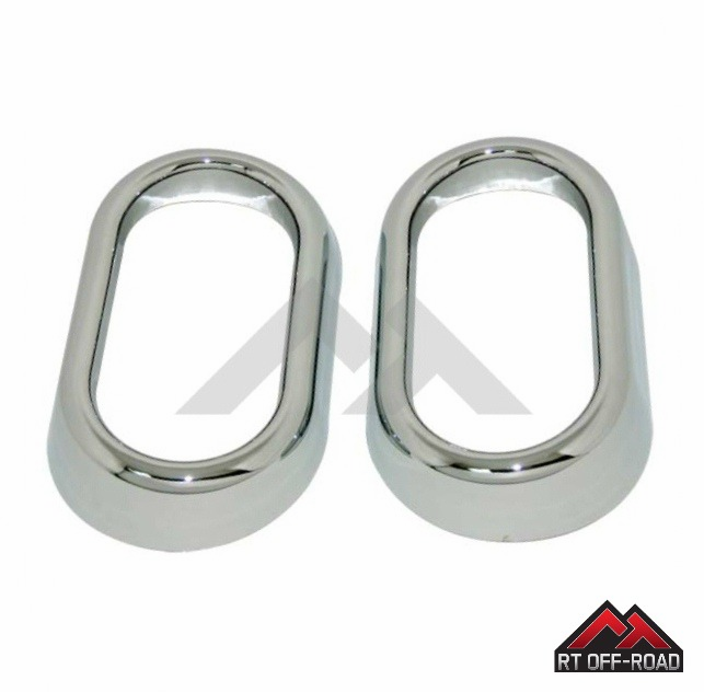Crown [ RT-JKC6340 ] Chrome Front or Rear Interior Door Handle Accents, Set of 2, 2007-2010 JK Wrangler
