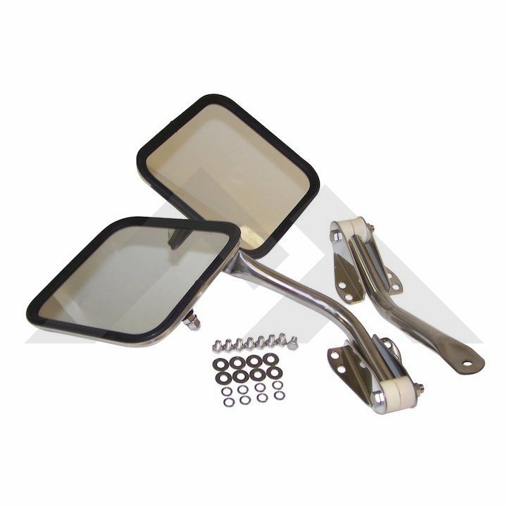 Complete mirror and arm kit, right & left side, stainless, fits 1955-86 Jeep CJ-5, CJ-6, CJ-7 & CJ-8