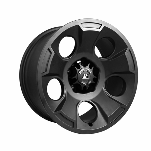Drakon Wheel, 17X9 Black Satin, w/ center cap, 07-14 Jeep Wrangler by Rugged Ridge
