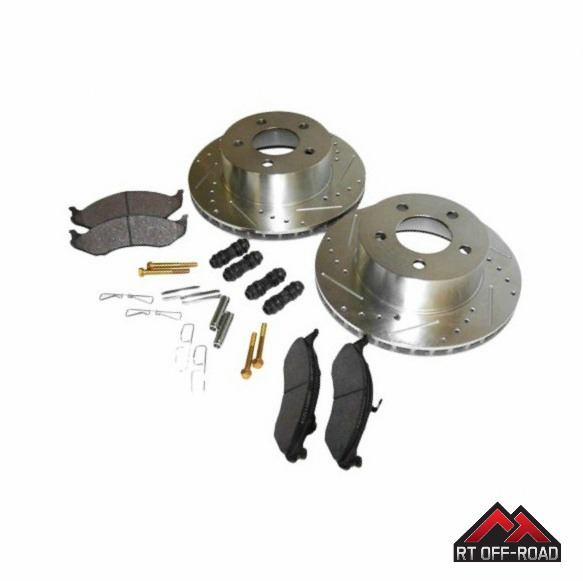 Drilled & Slotted Front Performance Brake Kit, fits 1990-1999 Jeep Wranglers & Cherokee XJ by RT Off-Road