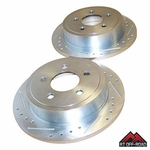 Drilled & Slotted Rear Brake Rotor Set, 2003-2006 Jeep Wrangler TJ by RT Off-Road