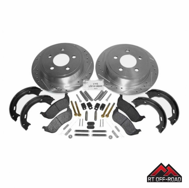 Drilled & Slotted Rear Performance Brake Kit, 2003-2006 Jeep Wrangler TJ by RT Off-Road