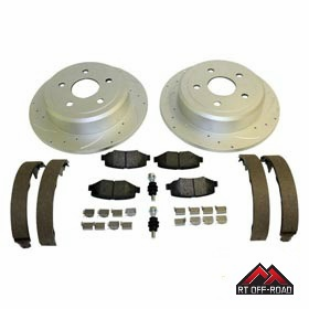 Drilled & Slotted Rear Performance Brake Kit, 2007-2014 Jeep Wrangler JK by RT Off-Road
