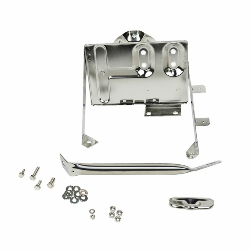Kentrol  [ 30498 ] Battery Tray w/support arm Polished Stainless Steel, Jeep CJ 1976-86