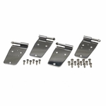 Kentrol Door Hinge Set, 4 pieces, Polished Stainless Steel, Jeep CJ & Wrangler YJ 1976-93