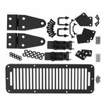 Kentrol Hood Kit (with TJ Style Hood Catch) Black Powder Coated Stainless, Jeep CJ & Wrangler YJ 1978-95