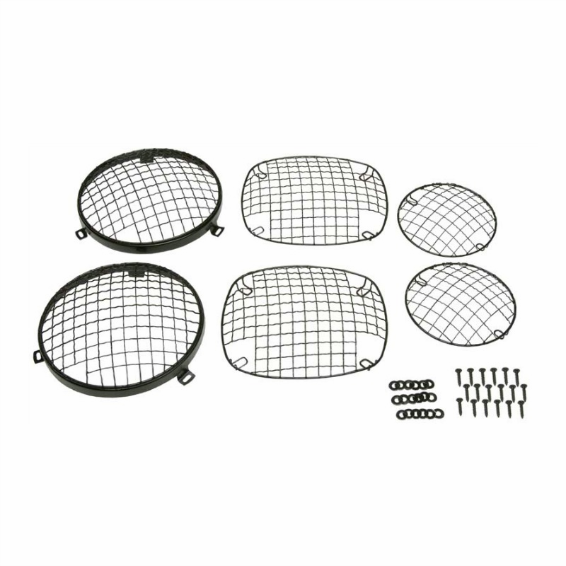 Kentrol  [ 50465 ] Wire Mesh Guard Set, 6 pieces, Black Powder Coated Stainless, Jeep CJ 1976-86