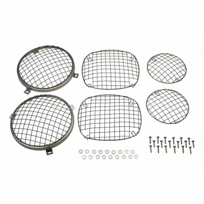 Kentrol  [ 30465 ] Wire Mesh Guard Set, 6 pieces, Polished Stainless Steel, Jeep CJ 1976-86