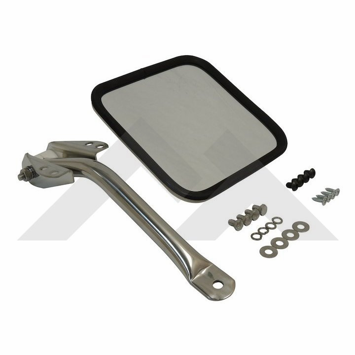 Mirror and arm kit, left side, stainless, fits 1955-86 Jeep CJ-5, CJ-6, CJ-7 & CJ-8 Scrambler