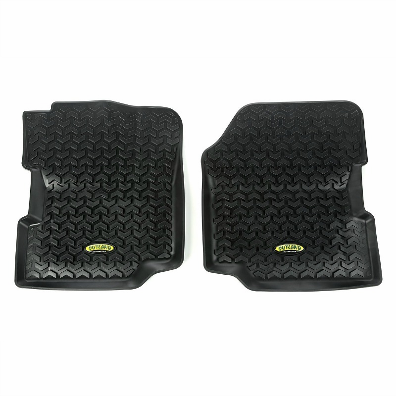 Outland [ 391292021 ] Black All Terrain Floor Liners, front pair, fits 1976-1995 CJ-5, CJ-7, CJ-8, Wrangler YJ