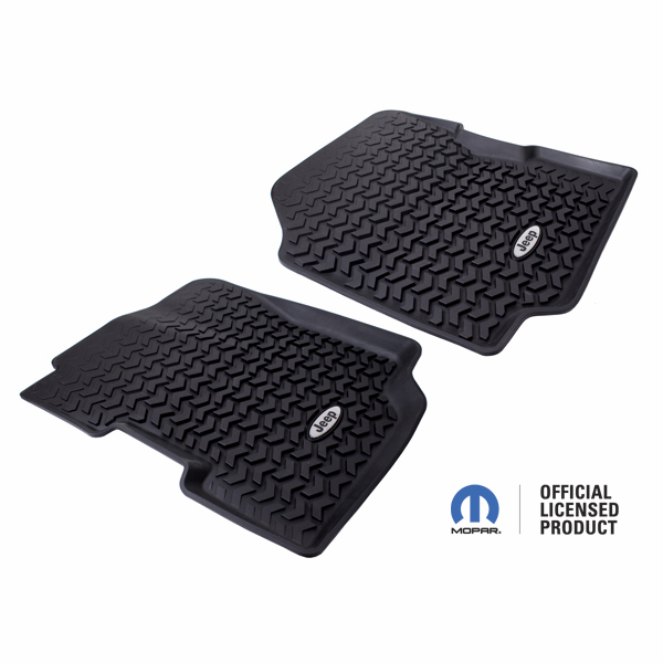 OMIX [ DMC-1292022 ] All Terrain Front Floor Liner with Jeep Logo, Black, fits 1976-86 Jeep CJ-7, CJ-8 & 1987-95 Wrangler