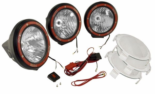 "OMIX [ 1520564 ] HID Off-Road fog light kit, 3 lights w/wiring harness, 5"" round black, composite housing"
