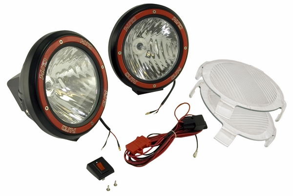 "OMIX [ 1520554 ] HID Off-Road fog light kit, pair of lights w/wiring harness, 5"" round black, composite housing"