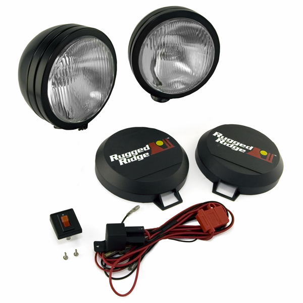 OMIX [ 1520552 ] HID Off-Road lights 5� round, 2 light kit w/ wiring harness, black