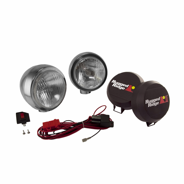 OMIX [ 1520652 ] HID Off-Road lights 5� round, 2 light kit w/ wiring harness, stainless