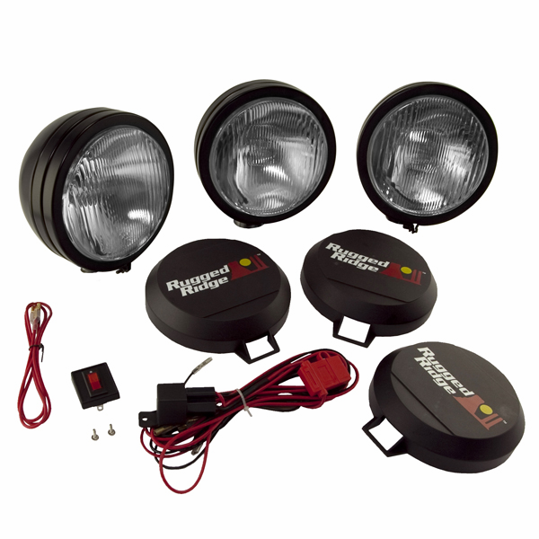OMIX [ 1520562 ] HID Off-Road lights 5� round, 3 light kit w/ wiring harness, black