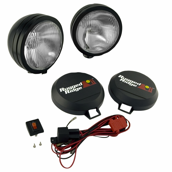 "OMIX [ 1520551 ] HID Off-Road lights 6"" round, 2 light kit w/ wiring harness, black"